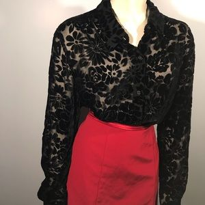 Vintage Velvet & Sheer Floral Top